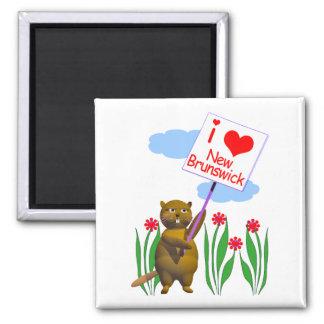 Canadian Beaver Loves New Brunswick 2 Inch Square Magnet