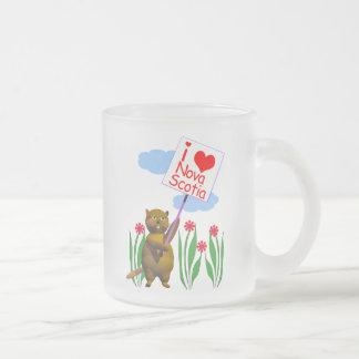 Canadian Beaver Loves Nova Scotia Frosted Glass Coffee Mug