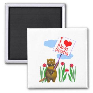 Canadian Beaver Loves Nova Scotia Magnet