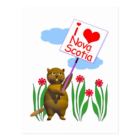Canadian Beaver Loves Nova Scotia Postcard