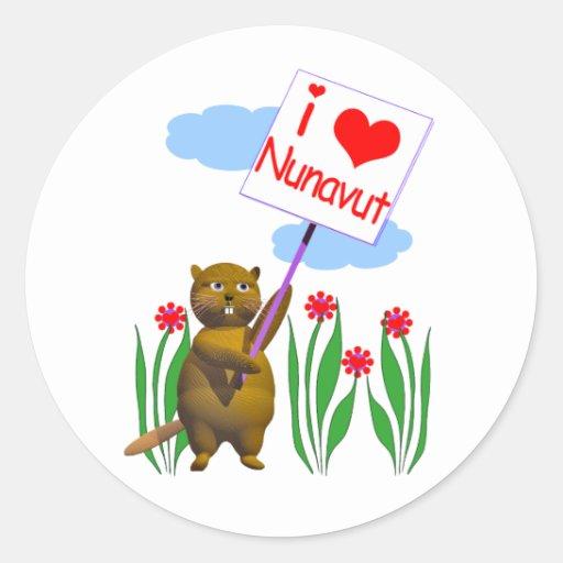 Canadian Beaver Loves Nunavut Classic Round Sticker