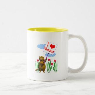 Canadian Beaver Loves Nunavut Two-Tone Coffee Mug