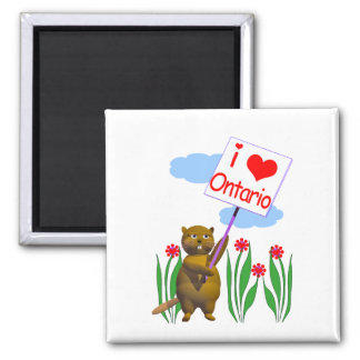 Canadian Beaver Loves Ontario 2 Inch Square Magnet