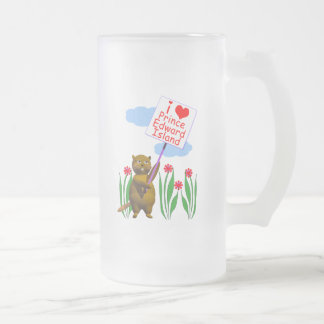 Canadian Beaver Loves Prince Edward Island Frosted Glass Beer Mug