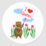 Canadian Beaver Loves Quebec Classic Round Sticker