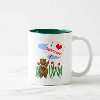 Canadian Beaver Loves Saskatchewan Two-Tone Coffee Mug