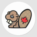 Canadian Beaver Round Stickers