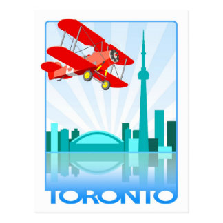 Canadian Biplane Over Toronto Retro Design Postcards