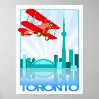 Canadian Biplane Over Toronto Retro Design Print