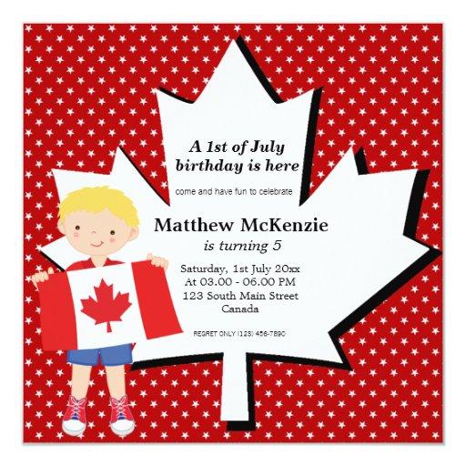 Canadian birthday boy invitation
