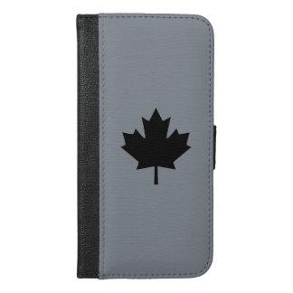 Canadian Black Maple Leaf Decor iPhone 6/6s Plus Wallet Case