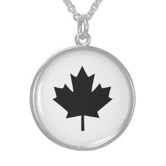 Canadian Black Maple Leaf Design Sterling Silver Necklace