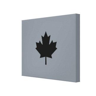 Canadian Black Maple Leaf on Grey Canvas Print