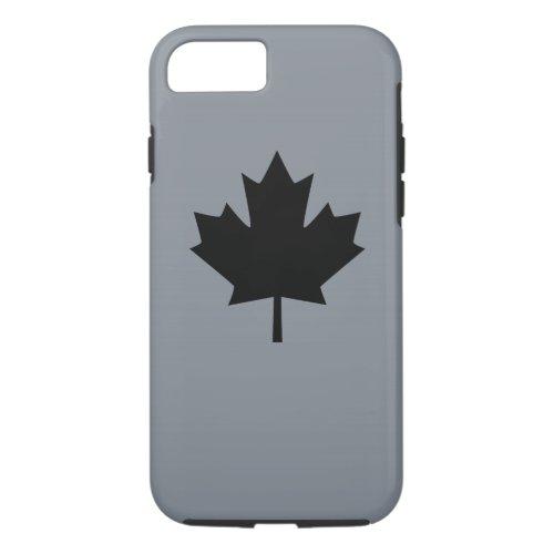Canadian Black Maple Leaf on Grey Phone Case