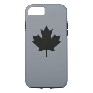 Canadian Black Maple Leaf on Grey iPhone 8/7 Case