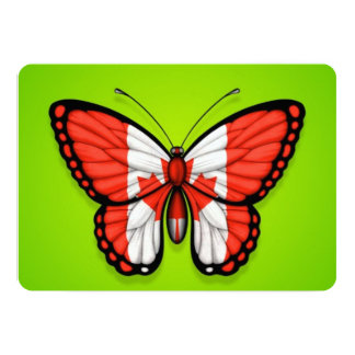 """Canadian Butterfly Flag on Green 5"""" X 7"""" Invitation Card"""