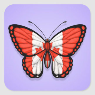 Canadian Butterfly Flag on Purple Square Sticker