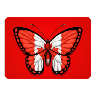 """Canadian Butterfly Flag on Red 5"""" X 7"""" Invitation Card"""