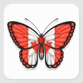 Canadian Butterfly Flag Square Sticker