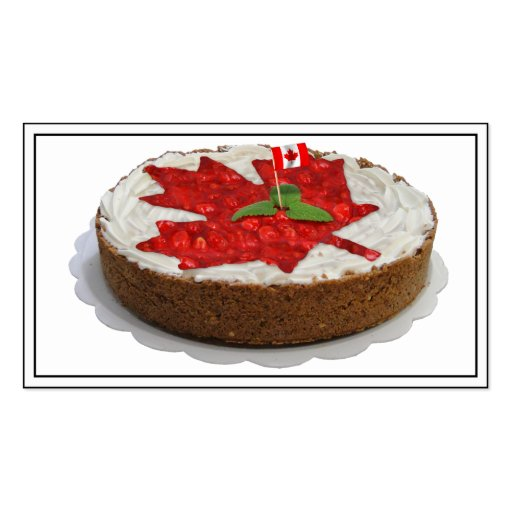 Canadian Cherry Maple Leaf Cake Double-Sided Standard Business Cards (Pack Of 100)
