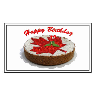 Canadian Cherry Maple Leaf Cake Business Cards