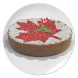 Canadian Cherry Maple Leaf Cake Dinner Plate