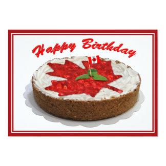 Canadian Cherry Maple Leaf Cake Custom Invitations