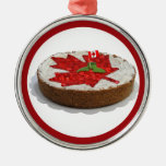 Canadian Cherry Maple Leaf Cake Ornament