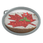 Canadian Cherry Maple Leaf Cake Oval Belt Buckles