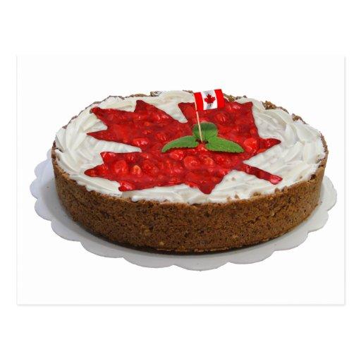 Canadian Cherry Maple Leaf Cake Postcard