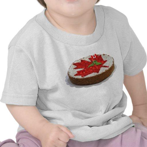 Canadian Cherry Maple Leaf Cake Tee Shirts
