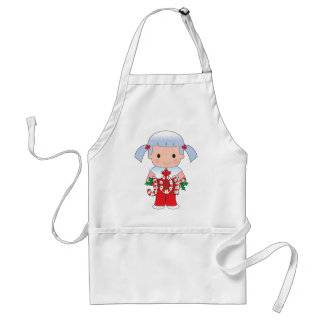Canadian Christmas Girl Adult Apron