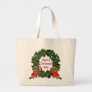 Canadian Christmas Large Tote Bag