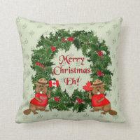 Canadian Christmas Throw Pillow