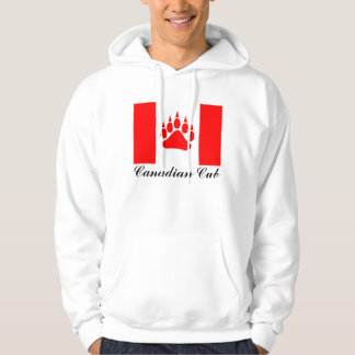 Canadian Cub Canadian Flag With Bear Paw Hooded Sweatshirt