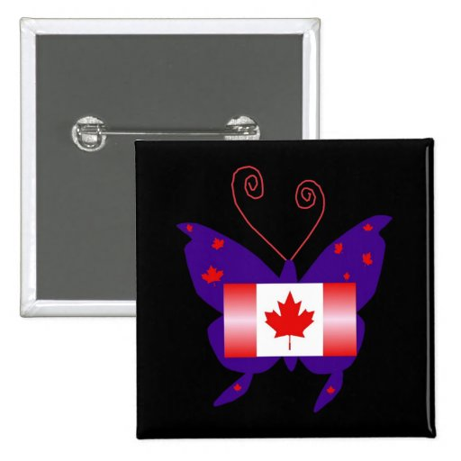 Canadian Diva Butterfly Pinback Buttons