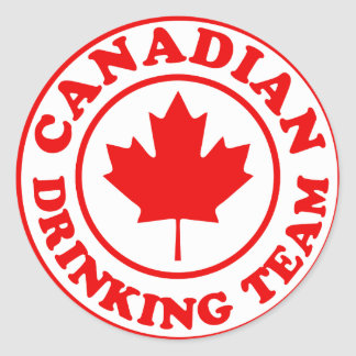 Canadian Drinking Team Classic Round Sticker