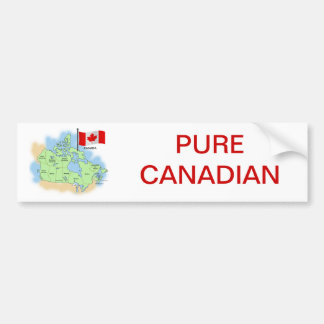 Canadian Flag and Map Car Bumper Sticker