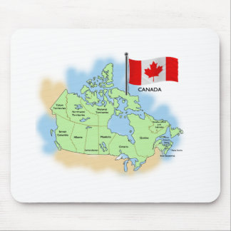 Canadian Flag and Map Mouse Pad