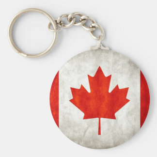 Canadian Flag Basic Round Button Keychain