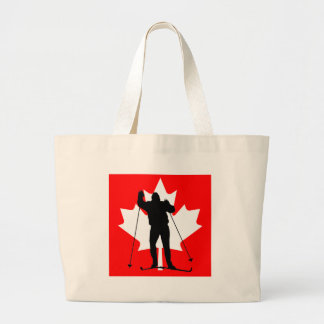 Canadian flag crosscountry skier canvas bags