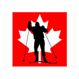 Canadian flag crosscountry skier postcard