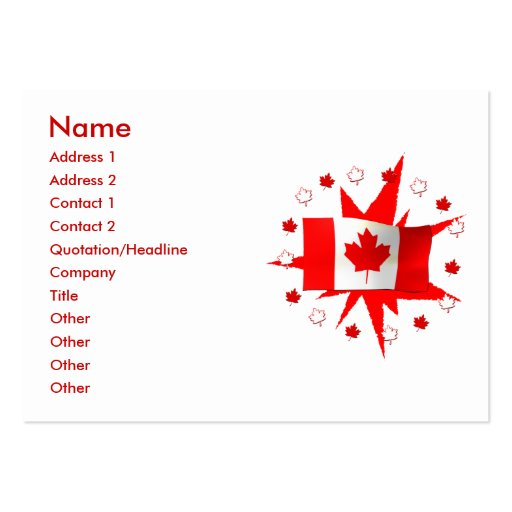 Canadian Flag Design Chubby Size Business Cards