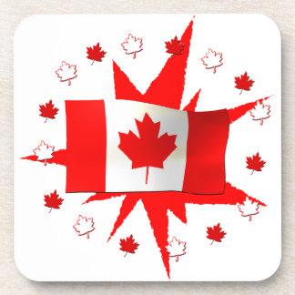 Canadian Flag Design Drink Coaster