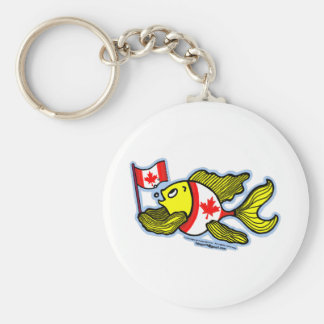 Canadian Flag Fish Basic Round Button Keychain