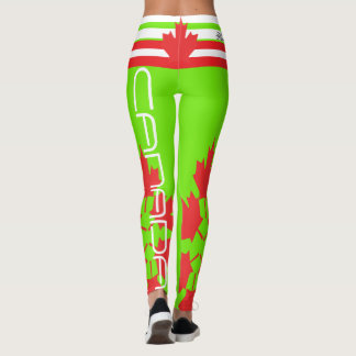 CANADIAN FLAG FLOURESCENT GREEN LEGGINGS HAVIC ACD