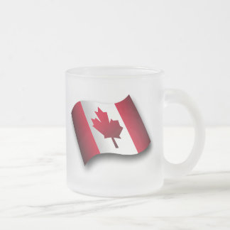 Canadian Flag Frosted Glass Coffee Mug