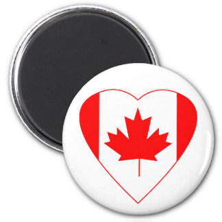 Canadian Flag Heart 2 Inch Round Magnet