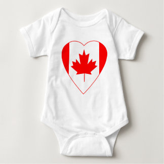 Canadian Flag Heart Baby Bodysuit