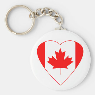 Canadian Flag Heart Basic Round Button Keychain